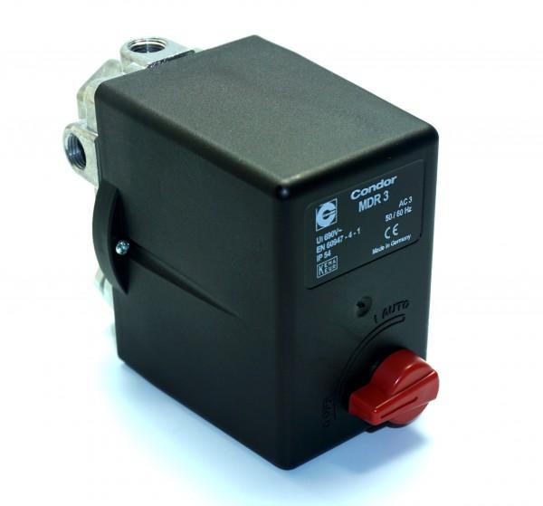 Condor Druckschalter MDR3 - 400V - 10 bar - 6,3-10A - 3/8 Zoll IG - 3 Abg. 1/4 Z