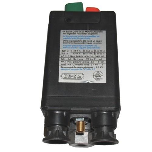 Nema Druckschalter - 400 V - 10 bar - 4-6,3 A - 3/8 Zoll IG - 3 Abg. 1/4 Zoll IG